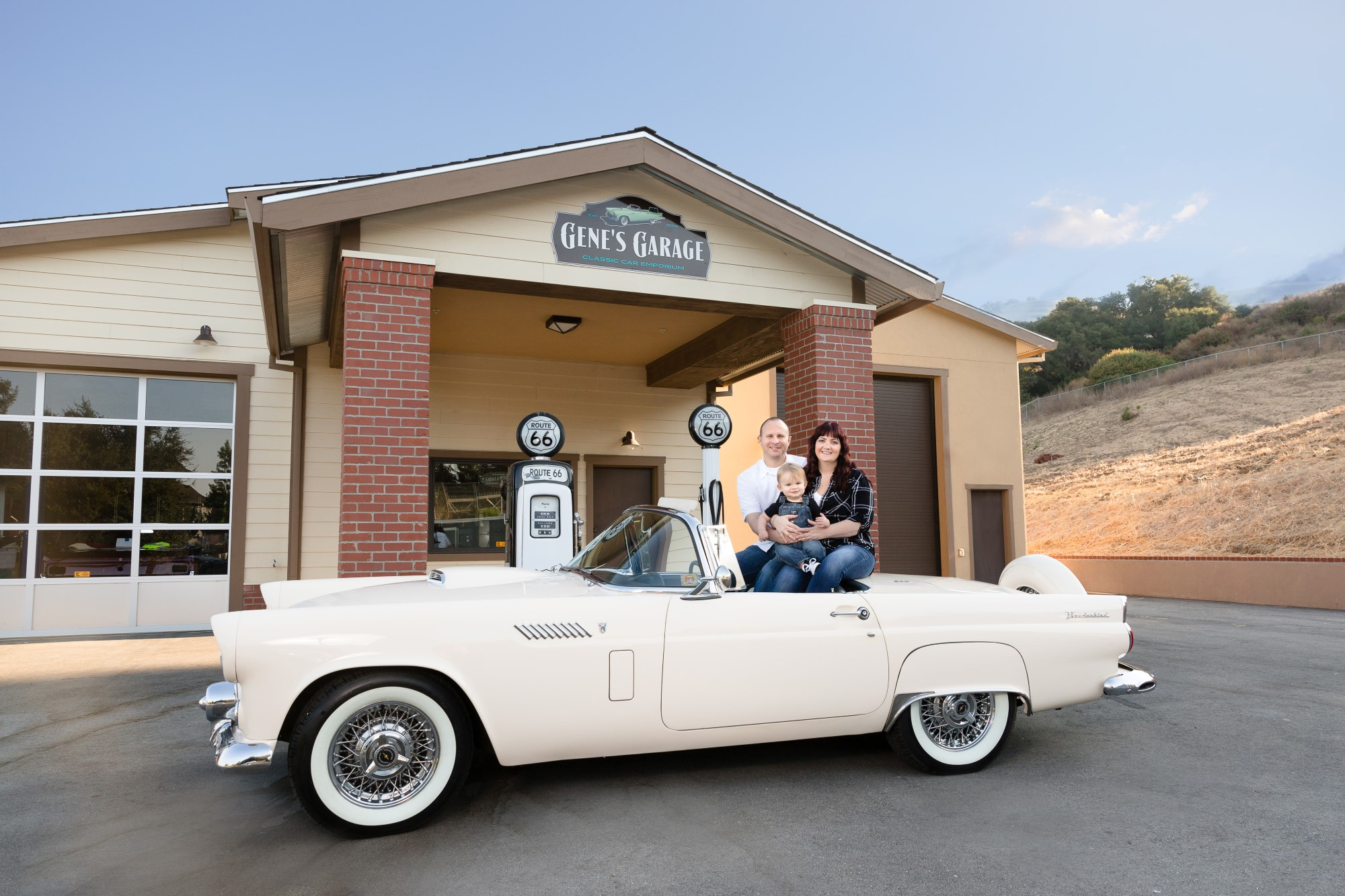Family shoot at Classic Car garage