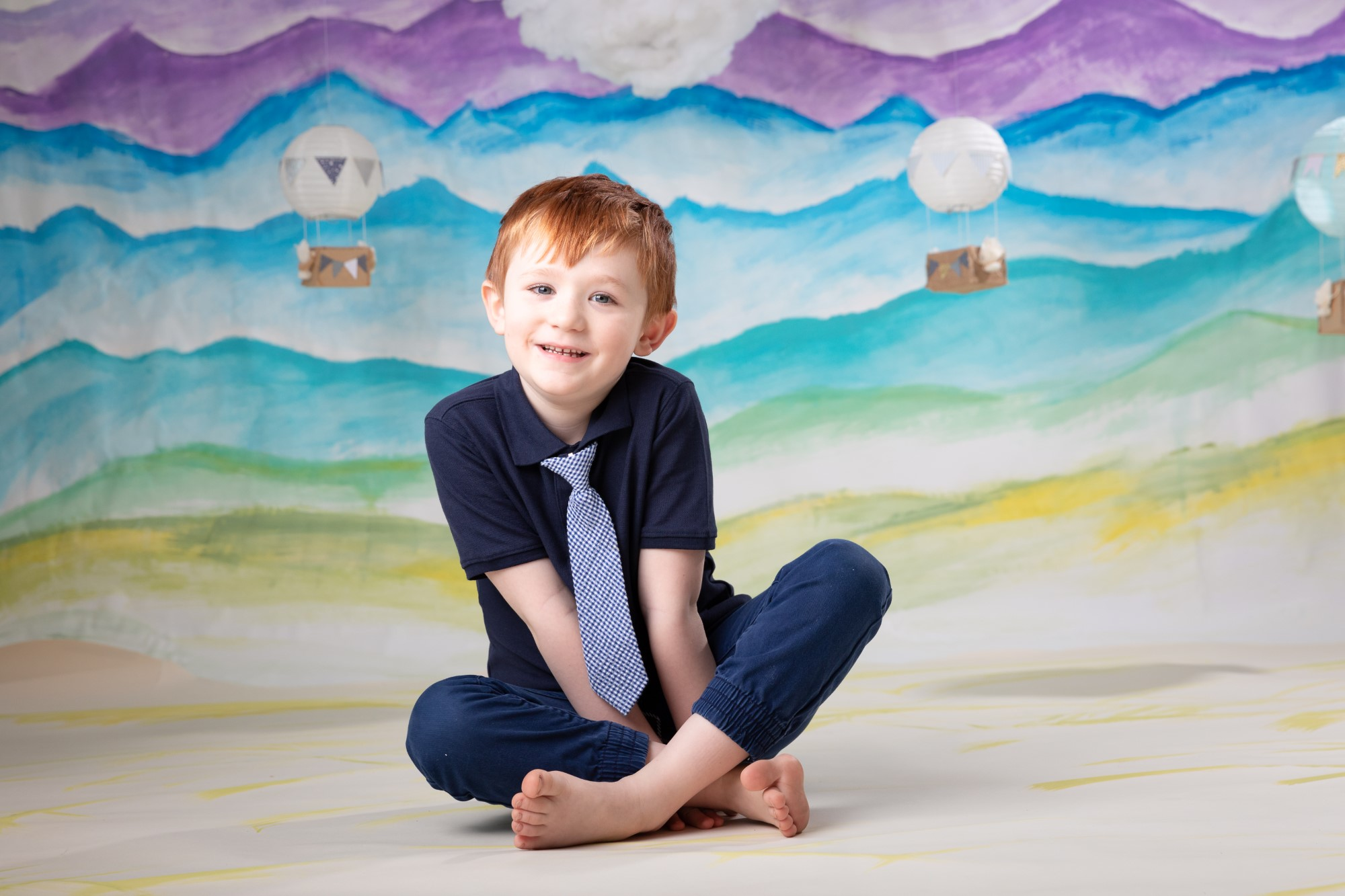 Adventure custom painted colorful backdrop hot air balloons