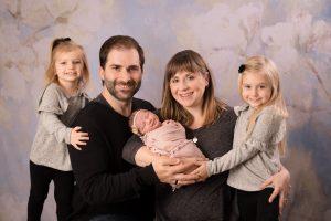 Full newborn in studio three girls big sisters