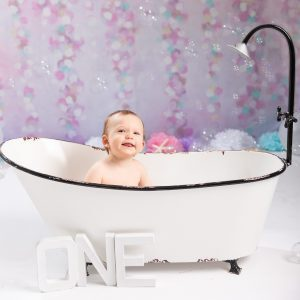 Studio bubble bath one year mermaid session